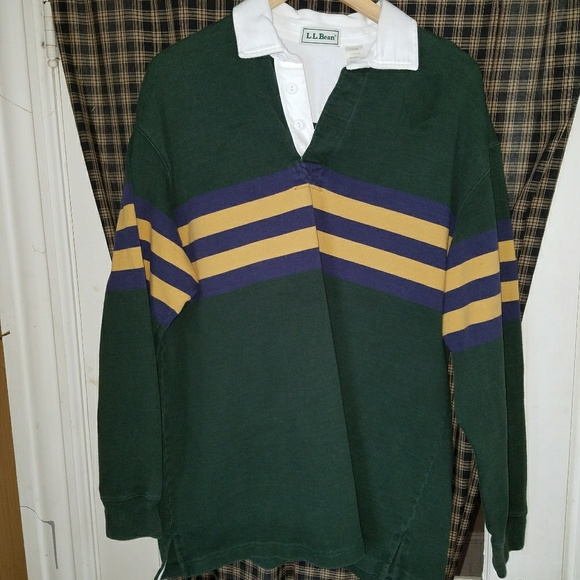 2b186236 L.L. Bean Shirts | Vintage Llbean Long Sleeve Rugby Shirt Size L ...